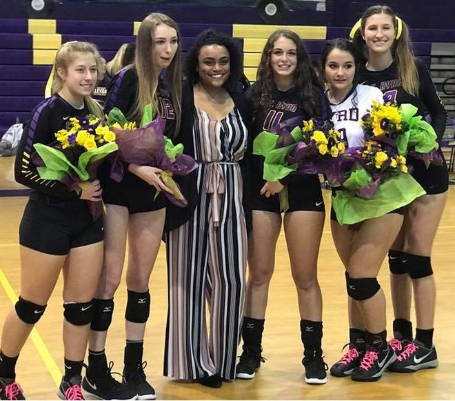 The Byrd senior volleyball players Caroline Hurd, Carissa Buckland, Morgan Little, Ainsley Mottet and Emme Cehajic celebrate Senior Night.