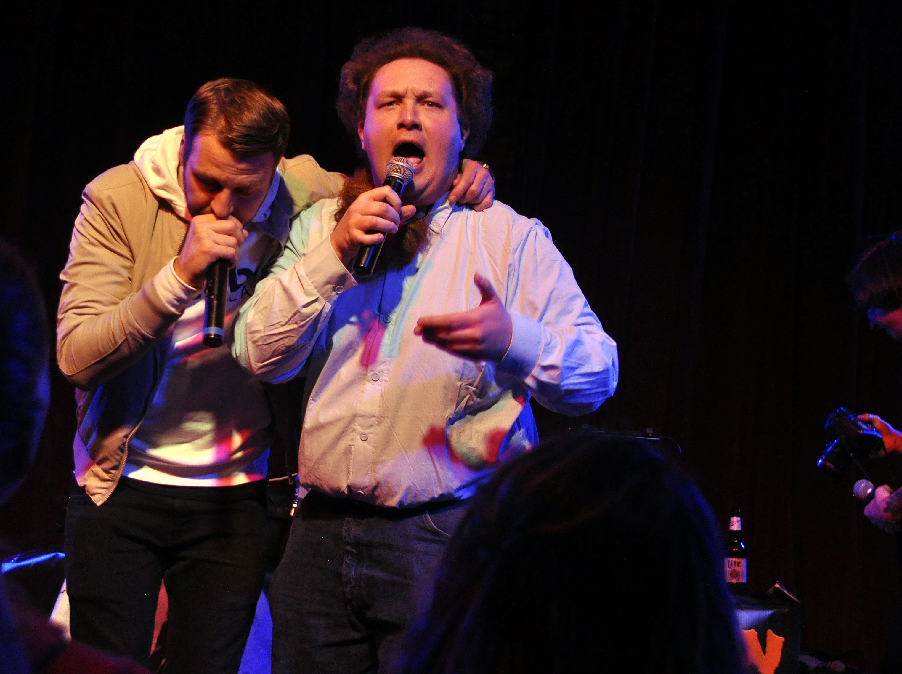 Zach Dresch, right, and Danny Eisenhauer  perform at the 10th Annual Halloween Rap Karaoke show at Icon Lounge Friday night. The event is was created by the Sioux Falls band Soulcrate.
