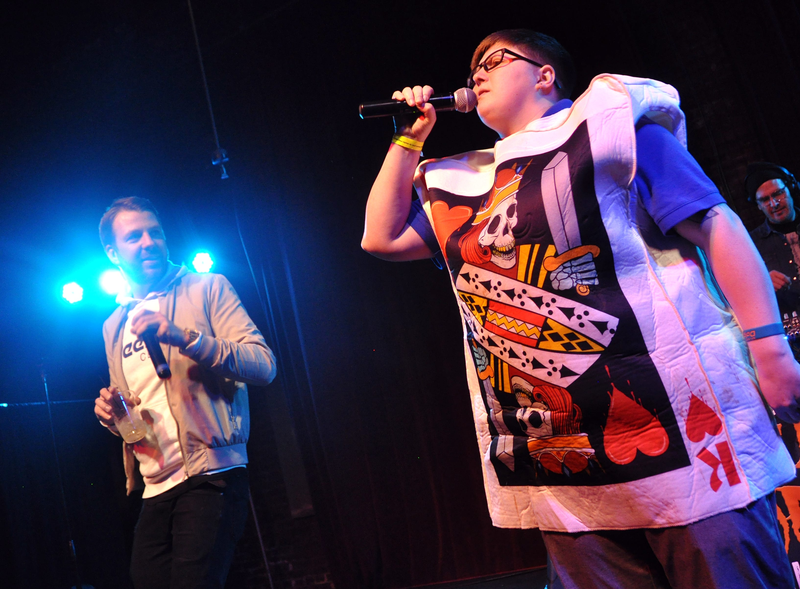 Beckahh Westra, right, and Danny Eisenhauer perform during the 10th Annual Halloween Rap Karaoke show at Icon Lounge Friday night. The event is was created by the Sioux Falls band Soulcrate.
