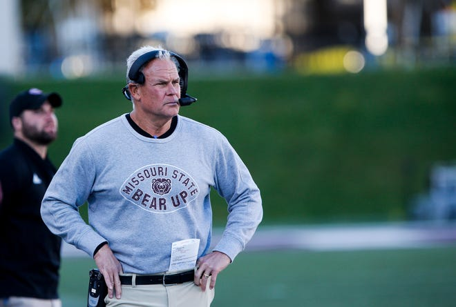 Missouri State Bears head coach Dave Steckel watches as the Bears take on the Southern Illinois Salukis at Plaster Field on Saturday, Oct. 27, 2018.