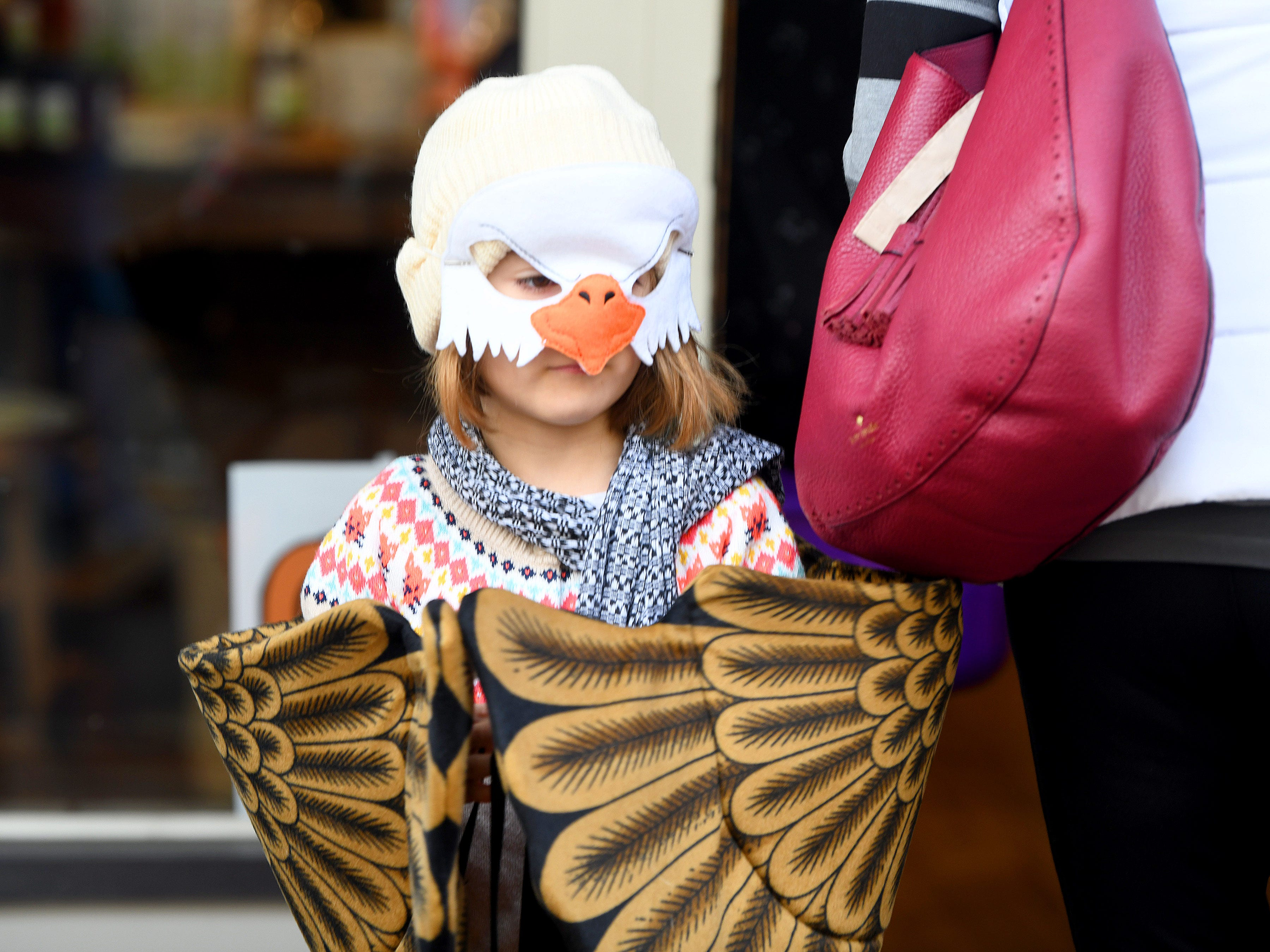 An eagle has wings folded while trick-or-treating in downtown Staunton on Saturday, Oct. 27, 2018.
