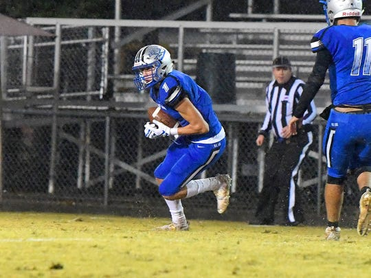 Robert E. Lee's Dylan Bowyer intercepts a pass meant for a Page County receiver for a game turnover during a game played in Staunton on Friday, Oct. 26. 2018.