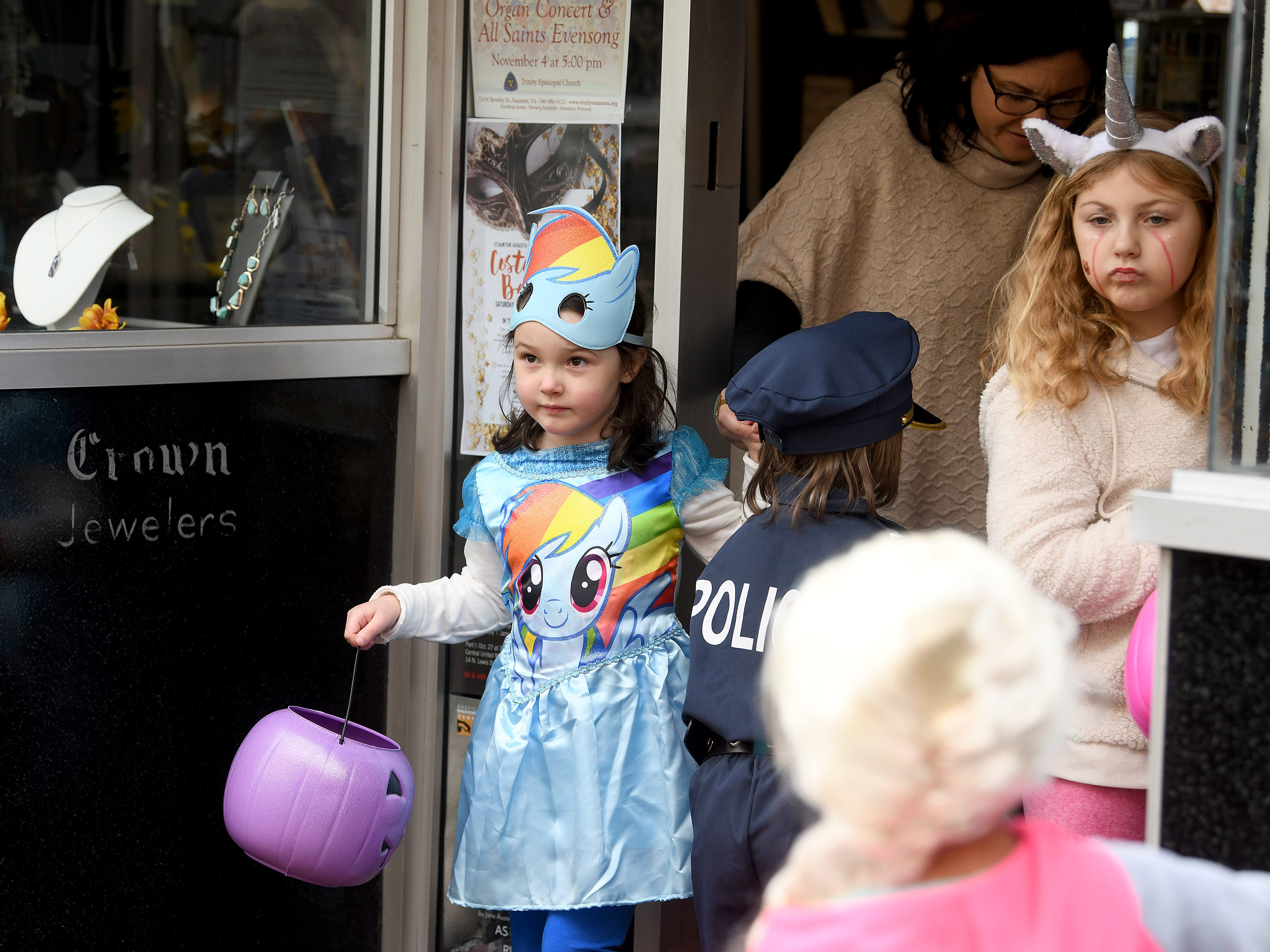 A My Little Pony  trick-or-treats in downtown Staunton on Saturday, Oct. 27, 2018.