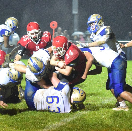 Riverheads' Jaden Phillips is taken down by the Central-Woodstock defense during the second quarter of their nondistrict football game on Friday, Oct. 26, 2018, at Riverheads High School in Greenville, Va.