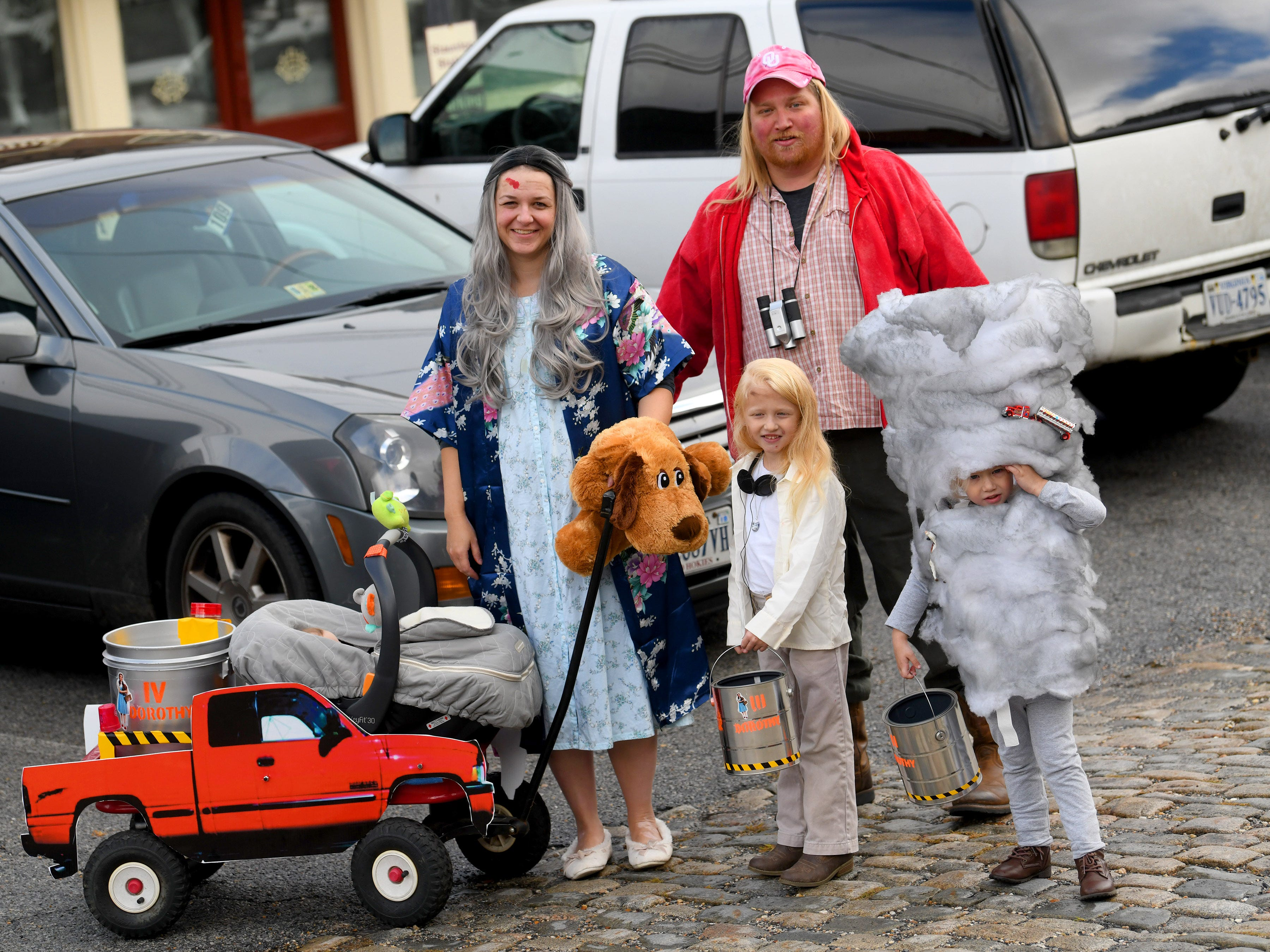 "One family brings the movie ""Twister"" to life as they each portraying characters and a tornado from the movie while attending the annual downtown trick-or-treating event in Staunton on Saturday, Oct. 27, 2018."