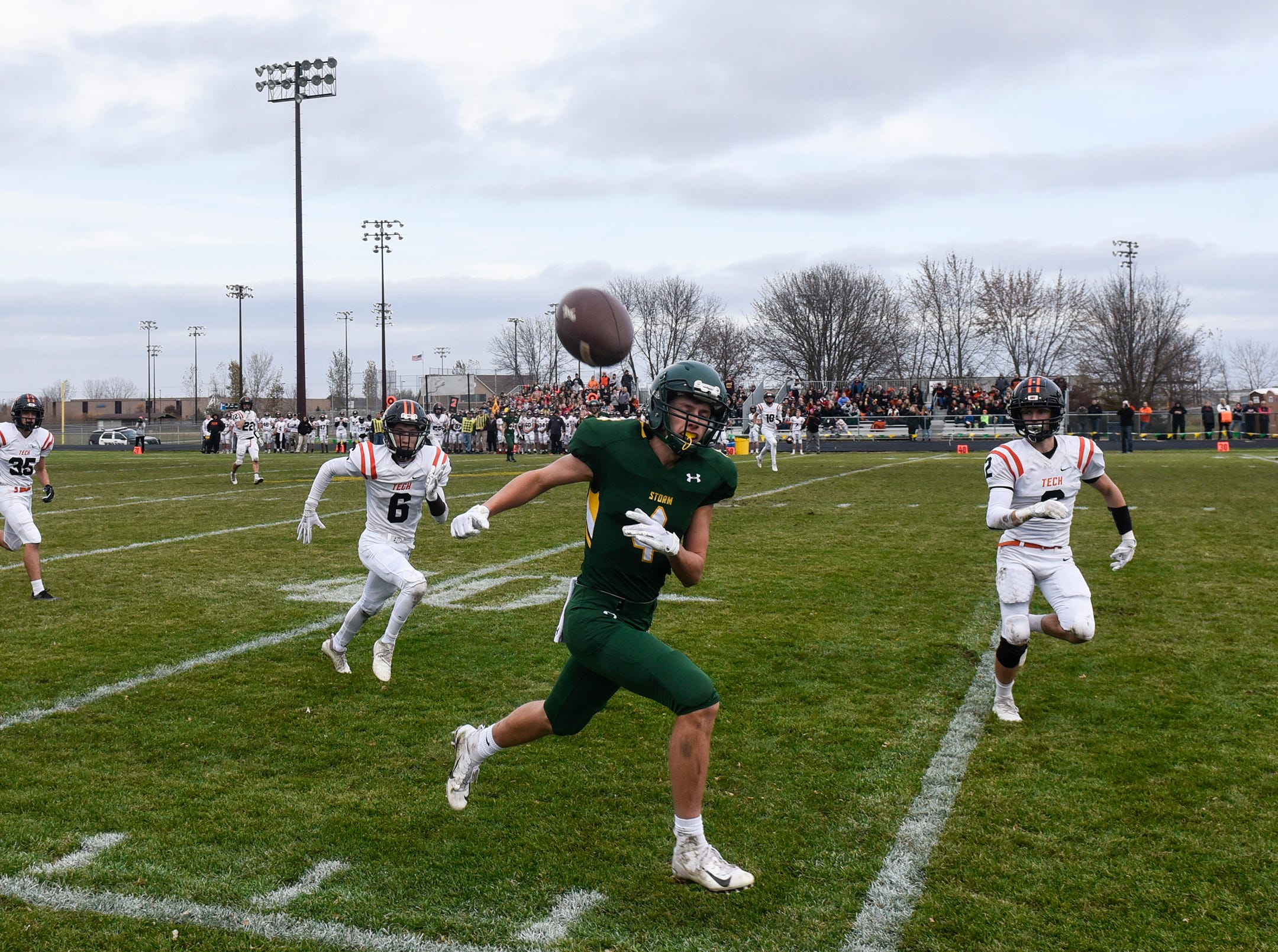 A pass bounces out of bounds in front of Kobe Lee of Sauk Rapids Saturday, Oct. 27, during the Section 6-5A semifinal game in Sauk Rapids.