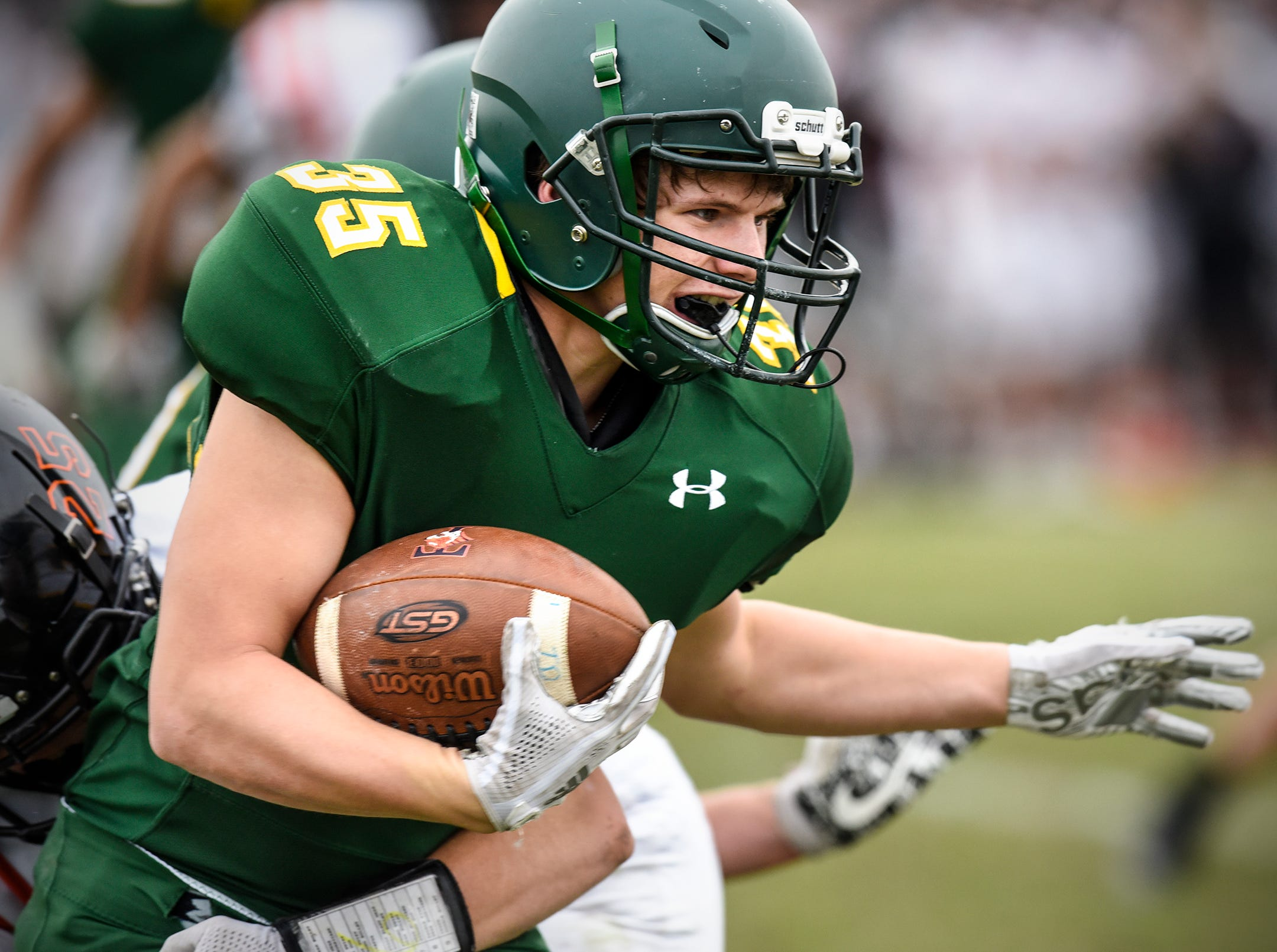 Zach Storms carries the ball for Sauk Rapids in the second half of the Saturday, Oct. 27,Section 6-5A semifinal game against Tech in Sauk Rapids. Storms caught a pass from quarterback Cade Milton-Baumgardner with 5.9 seconds left in the fourth quarter to give the Storm a 20-16 win.