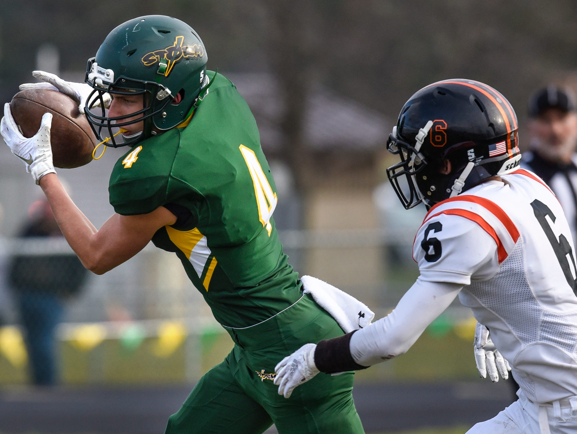 Kobe Lee makes a catch for Sauk Rapids Saturday, Oct. 27, during the Section 6-5A semifinal game against Tech in Sauk Rapids.