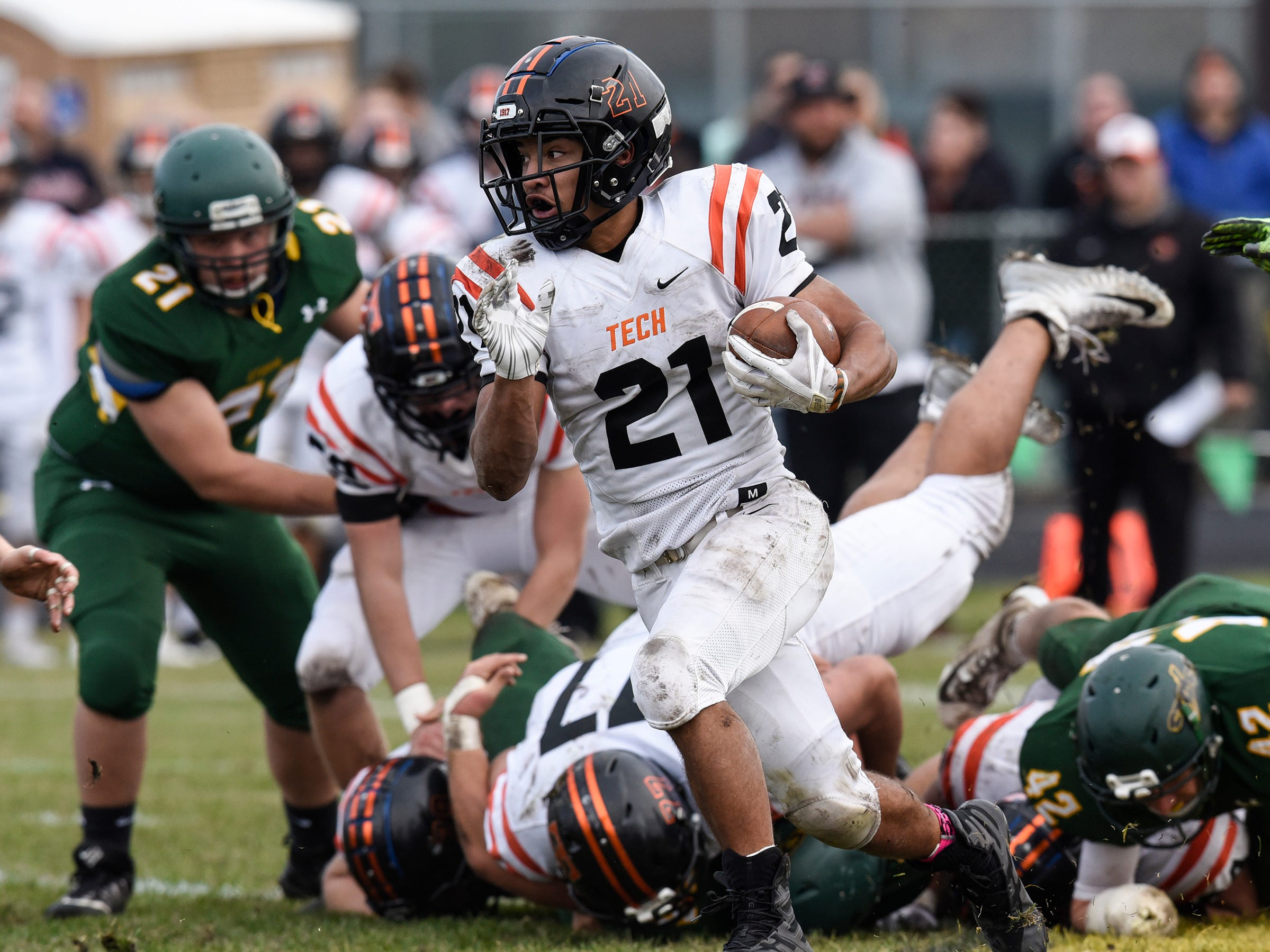Kedrik Osuorah carries the ball for Tech Saturday, Oct. 27, during the Section 6-5A semifinal game in Sauk Rapids.