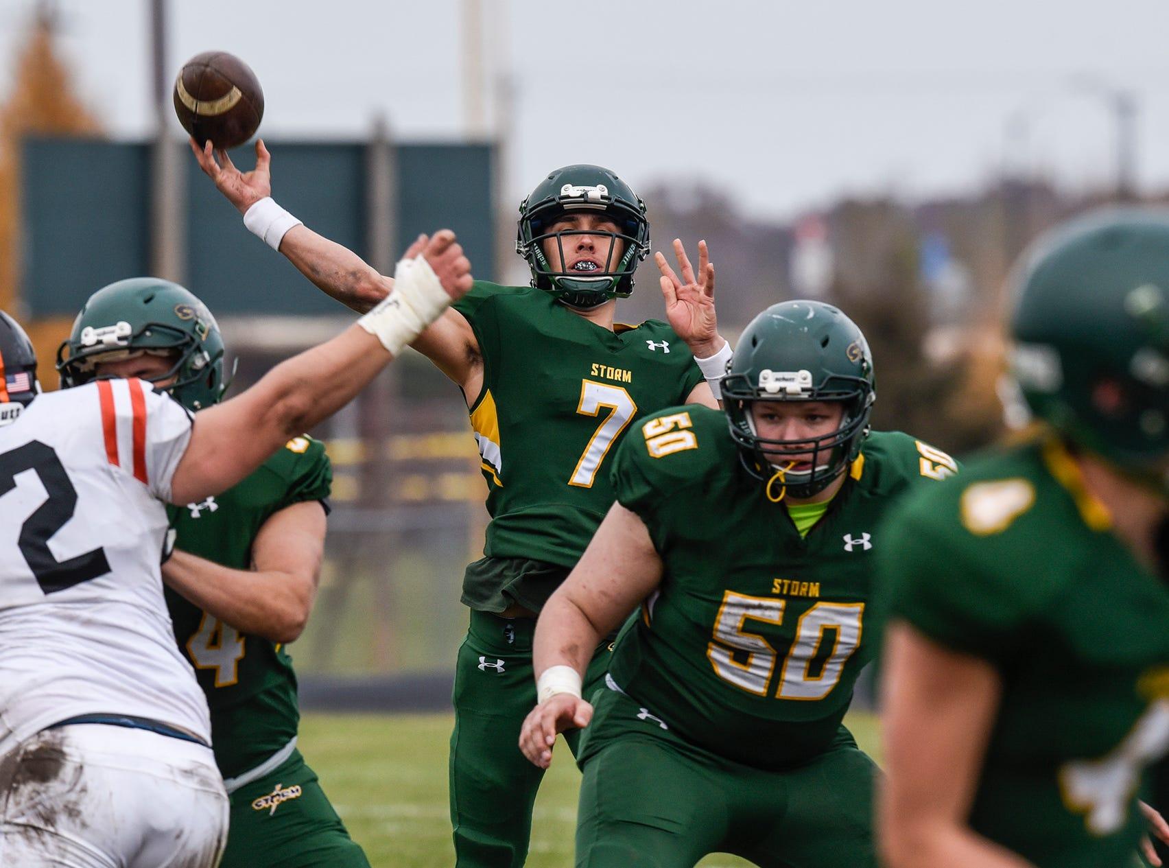 Sauk Rapids quarterback Cade Milton-Baumgardner throws a pass Saturday, Oct. 27, during the Section 6-5A semifinal game against St. Cloud Tech in Sauk Rapids.