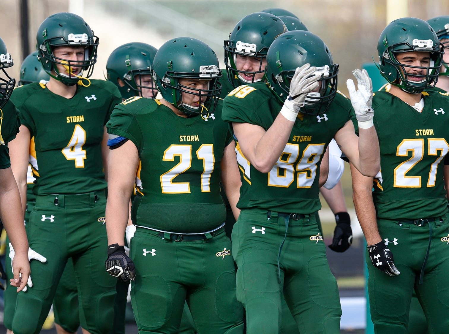 Sauk Rapids players take the field Saturday, Oct. 27, during the Section 6-5A semifinal game in Sauk Rapids.