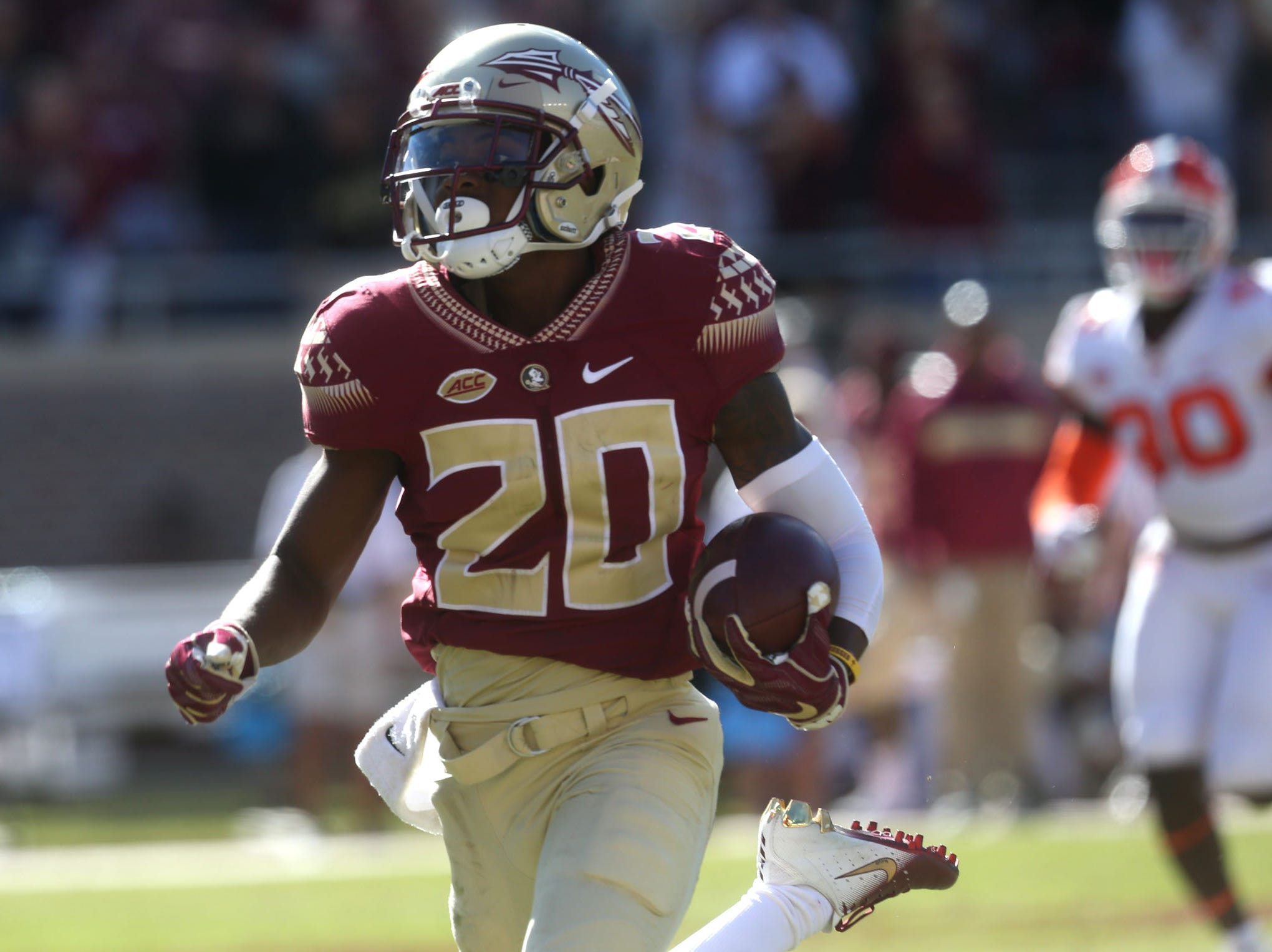 Florida State Seminoles wide receiver Keyshawn Helton (20) runs in for a touchdown as the Florida State Seminoles take on the Clemson Tigers in college football at Doak S. Campbell Stadium on Saturday, Oct. 27, 2018.
