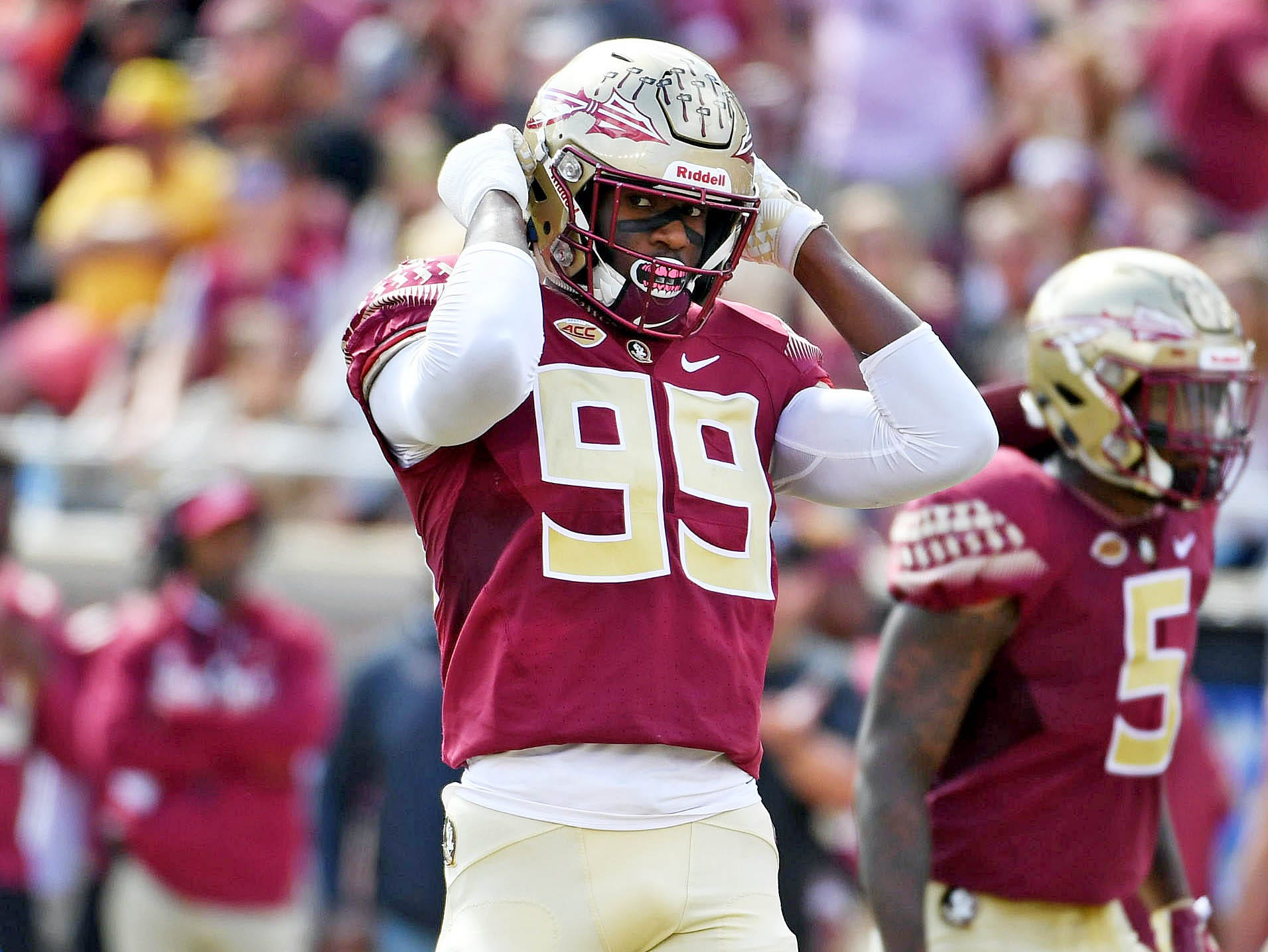 Oct 27, 2018; Tallahassee, FL, USA; Florida State Seminoles defensive end Brian Burns (99) during the first half against the Clemson Tigers at Doak Campbell Stadium. Mandatory Credit: Melina Myers-USA TODAY Sports