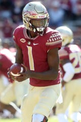 Florida State Seminoles quarterback James Blackman (1) as the Florida State Seminoles take on the Clemson Tigers in college football at Doak S. Campbell Stadium on Saturday, Oct. 27, 2018.