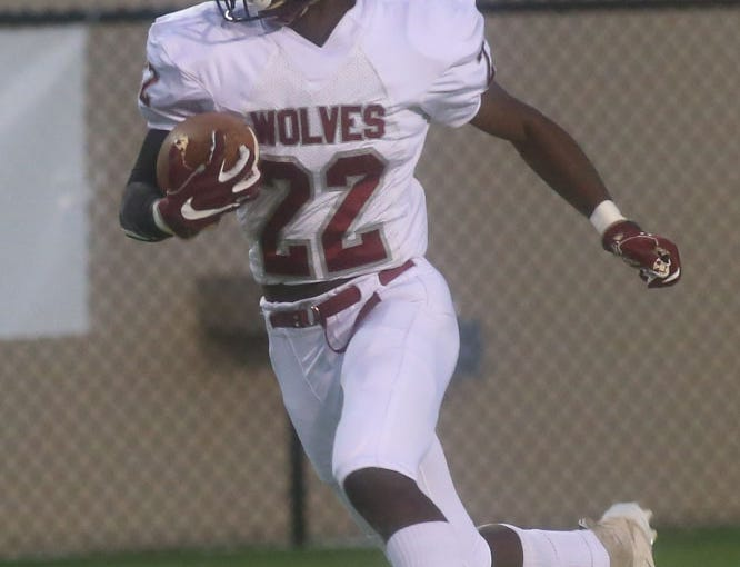 Chiles High School running back Lacorey Levens (22) runs to make a huge gain as the Leon lions face off against the Chiles timberwolves in high school football at Gene Cox Stadium on Friday, Oct. 26, 2018.