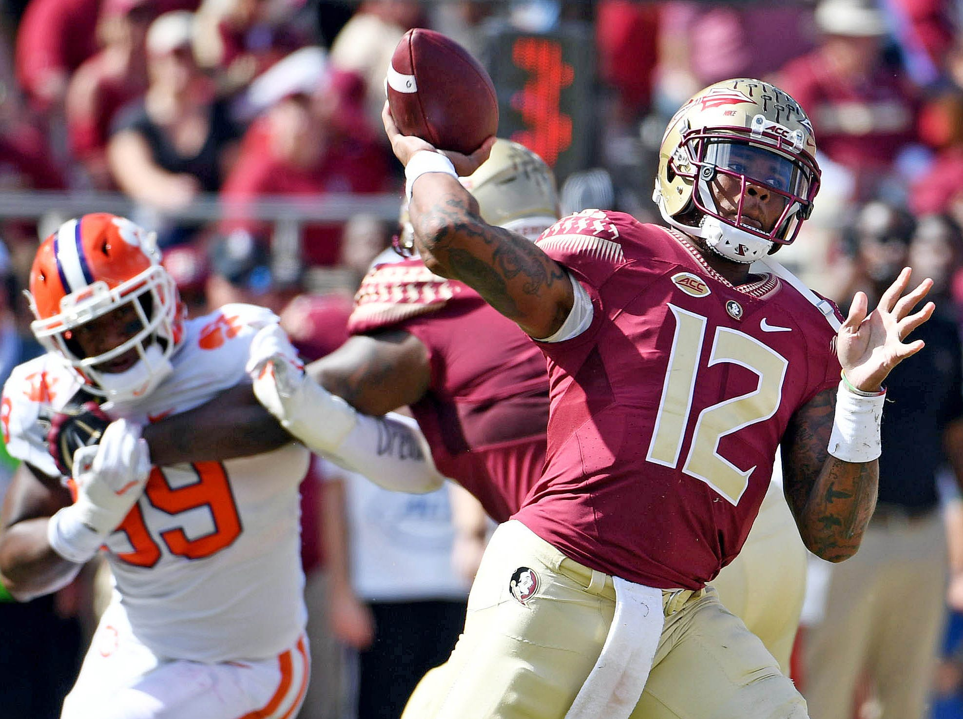 Oct 27, 2018; Tallahassee, FL, USA; Clemson Tigers pressure Florida State Seminoles quarterback Deondre Francois (12) during the first half at Doak Campbell Stadium. Mandatory Credit: Melina Myers-USA TODAY Sports