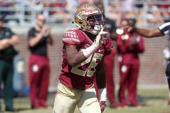 Florida State Seminoles defensive back Asante Samuel Jr. (26) after Clemson does not complete the pass as the Florida State Seminoles take on the Clemson Tigers in college football at Doak S. Campbell Stadium on Saturday, Oct. 27, 2018.