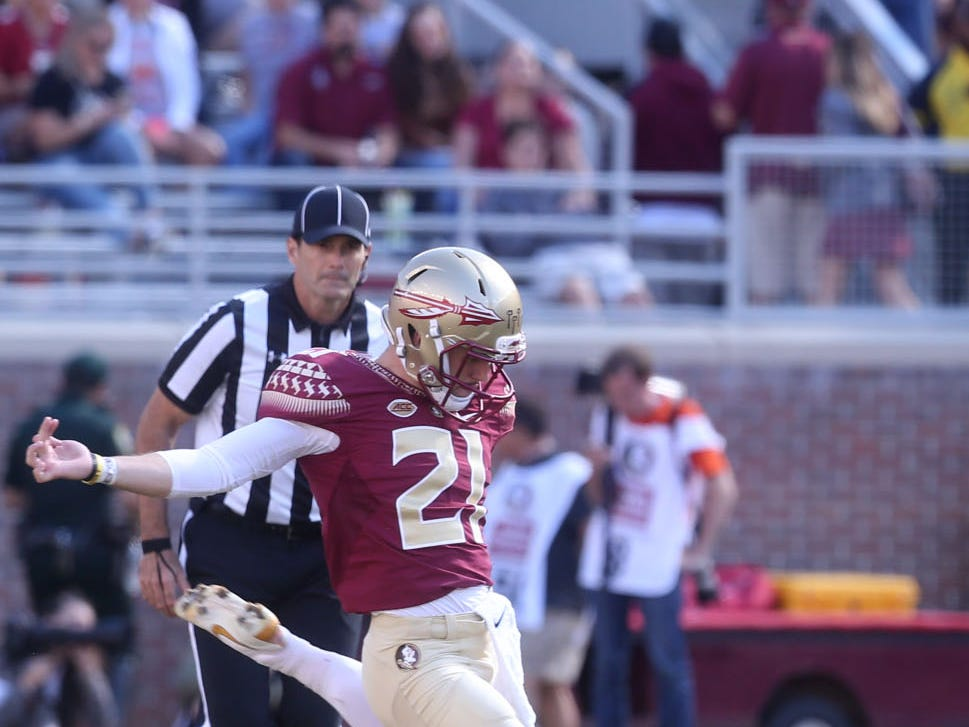 Florida State Seminoles punter Logan Tyler (21)the Florida State Seminoles goes to punt as the Florida State Seminoles take on the Clemson Tigers in college football at Doak S. Campbell Stadium on Saturday, Oct. 27, 2018.