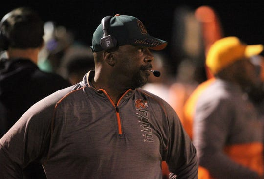 FAMU DRS head football coach Cedric Jones watches his team during a game against Jefferson County.