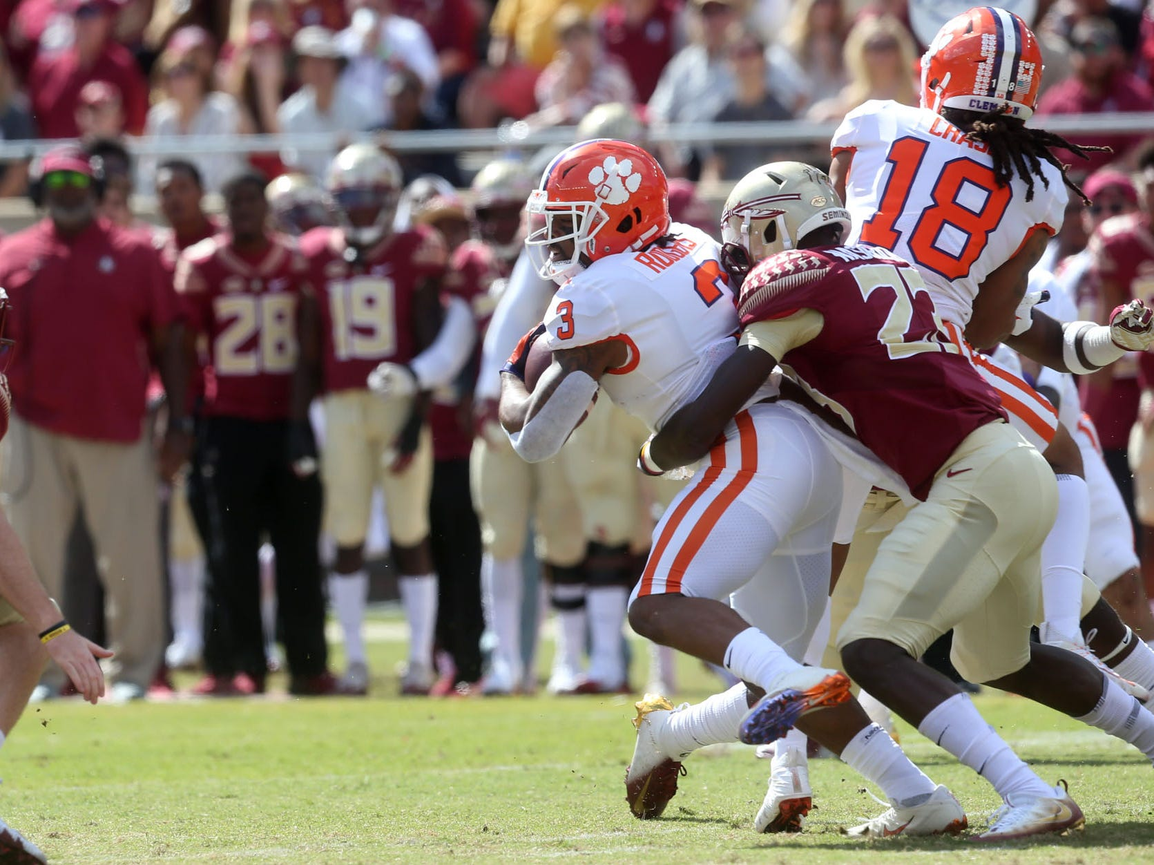 The Florida State Seminoles take on the Clemson Tigers in college football at Doak S. Campbell Stadium on Saturday, Oct. 27, 2018.