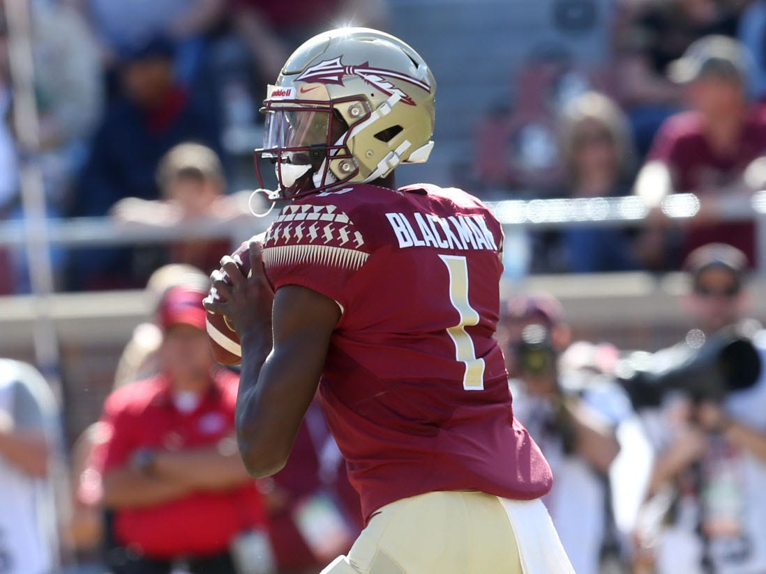 Florida State Seminoles quarterback James Blackman (1) looks to pass as the Florida State Seminoles take on the Clemson Tigers in college football at Doak S. Campbell Stadium on Saturday, Oct. 27, 2018.