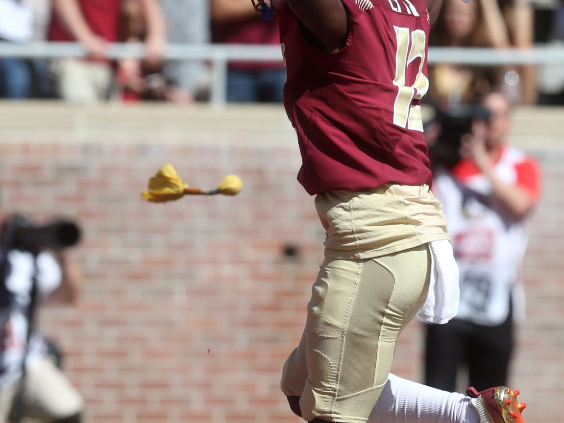 Florida State Seminoles defensive back A.J. Lytton (12) celebrates an incomplete pass by Clemson as the Florida State Seminoles take on the Clemson Tigers in college football at Doak S. Campbell Stadium on Saturday, Oct. 27, 2018.