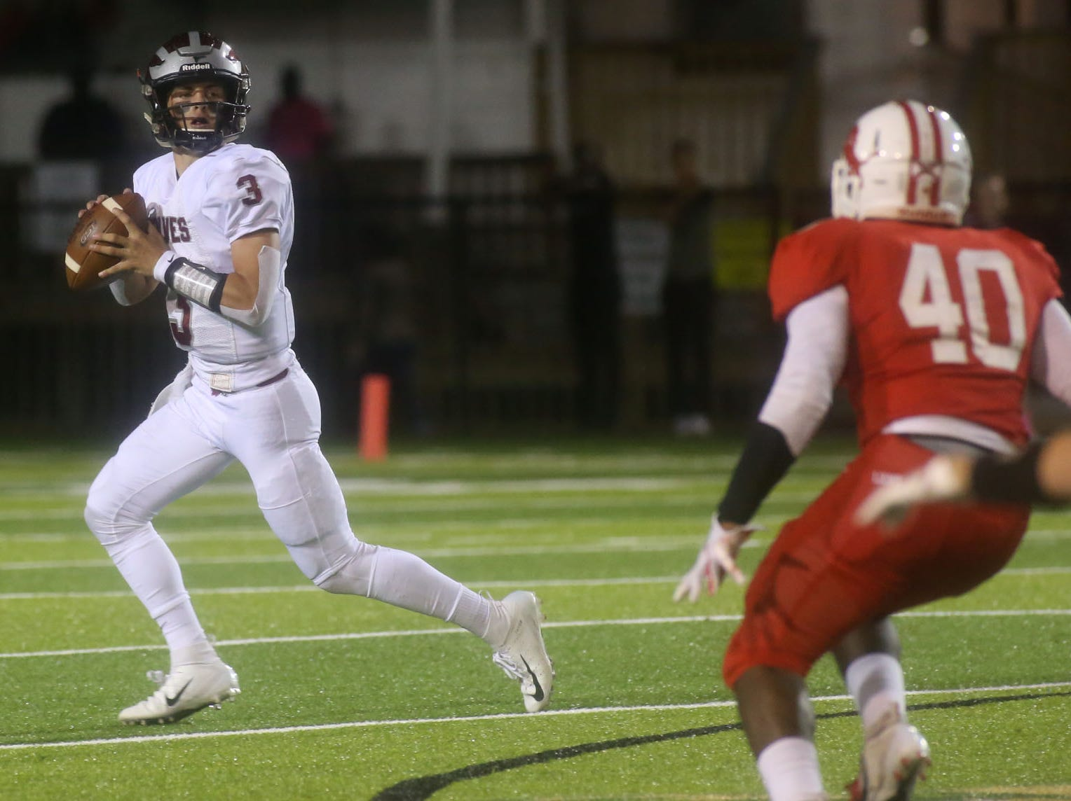 Chiles High School quarterback Garrett Greene (3) looks to pass as the Leon lions face off against the Chiles timberwolves in high school football at Gene Cox Stadium on Friday, Oct. 26, 2018.