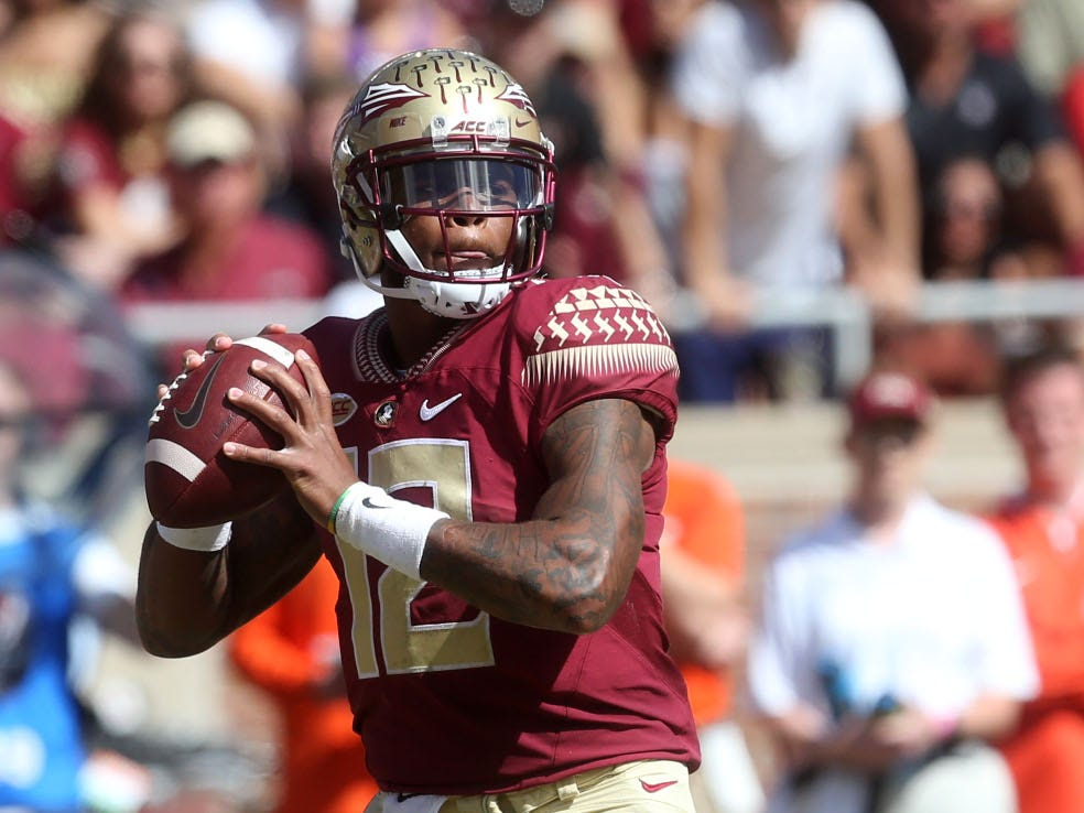 Florida State Seminoles quarterback Deondre Francois (12) looks for an open player to pass to as the Florida State Seminoles take on the Clemson Tigers in college football at Doak S. Campbell Stadium on Saturday, Oct. 27, 2018.