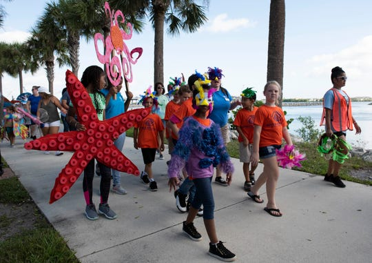 The fifth annual Indian River Lagoon Science Festival was held Saturday, October 27, 2018, at Veterans Memorial Park in Fort Pierce. The festival featured more than 70 exhibitors from across the Treasure Coast, food trucks and hands-on activities exploring science, technology, engineering, art and math. The event also included the Procession of the Species, a parade where people masqueraded as their favorite plants, animals or earth elements.