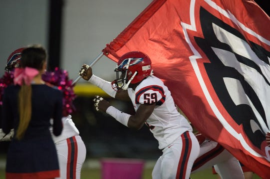 The high school football game between Treasure Coast and Centennial at South County Stadium on Friday, October 26, 2018 in Port St. Lucie.