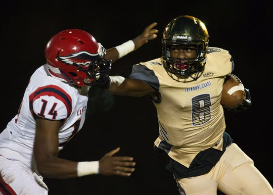 Treasure Coast's Tyrec Thompson (8) has made one big play after another for Treasure Coast's football team, which tied a school record with seven regular-season wins and is in the playoffs for the second time in the past three seasons.