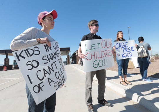 Two separate protests at the Tornillo detention site for immigrants joined forces Saturday to demand an end to family separations and detentions. One was organized by Hope Border Institute and the other by a group of immigration and civil rights attorneys.