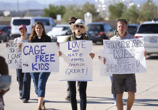 Two separate protests at the Tornillo detention site for immigrants joined forces to demand an end to family separations and detentions. One was organized by Hope Border Institute and the other by a group of immigration and civil rights attorneys.
