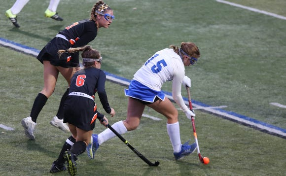 North Salem's Alison Eberhardt (15) moves the ball up the field against Pawling during the Section 1 field hockey championship at Brewster High School Oct. 27, 2018.