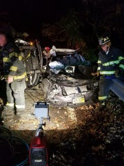 Croton-on-Hudson firefighters respond to a two-car crash Friday night at Short Hill Road and Croton Avenue.