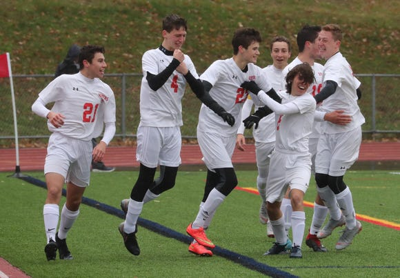 Somers' Ethan Cukaj (22) celebrates his goal during the Class A Section 1 boys soccer championship at Lakeland Oct. 27, 2018. Somers beat Pearl River 4-2.