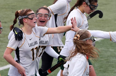 Lakeland's Julianna Cappello (11) celebrates with teammates after scoring her fourth goal against John Jay (CR) during the girls Class A Section 1 final at Brewster High School Oct. 27, 2018. Lakeland won the game 6-1.