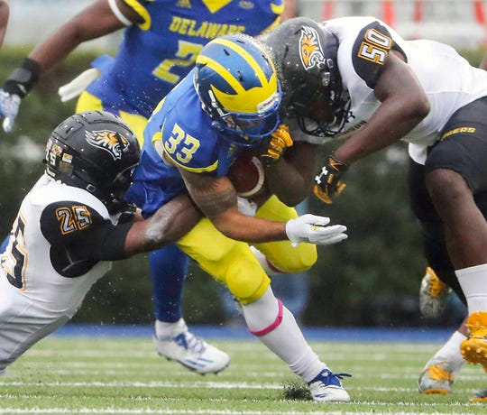 Delaware kick returner DeJoun Lee loses the ball to a hit from Towson's Robert Heyward in the final minute of the first half at Delaware Stadium Saturday. The Tigers converted the turnover into a field goal as time expired to take an 18-6 halftime lead.