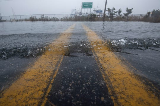 Flooding at the intersection of Park and Pilottown Road in Lewes was seen during Delaware's first nor'easter of the season.
