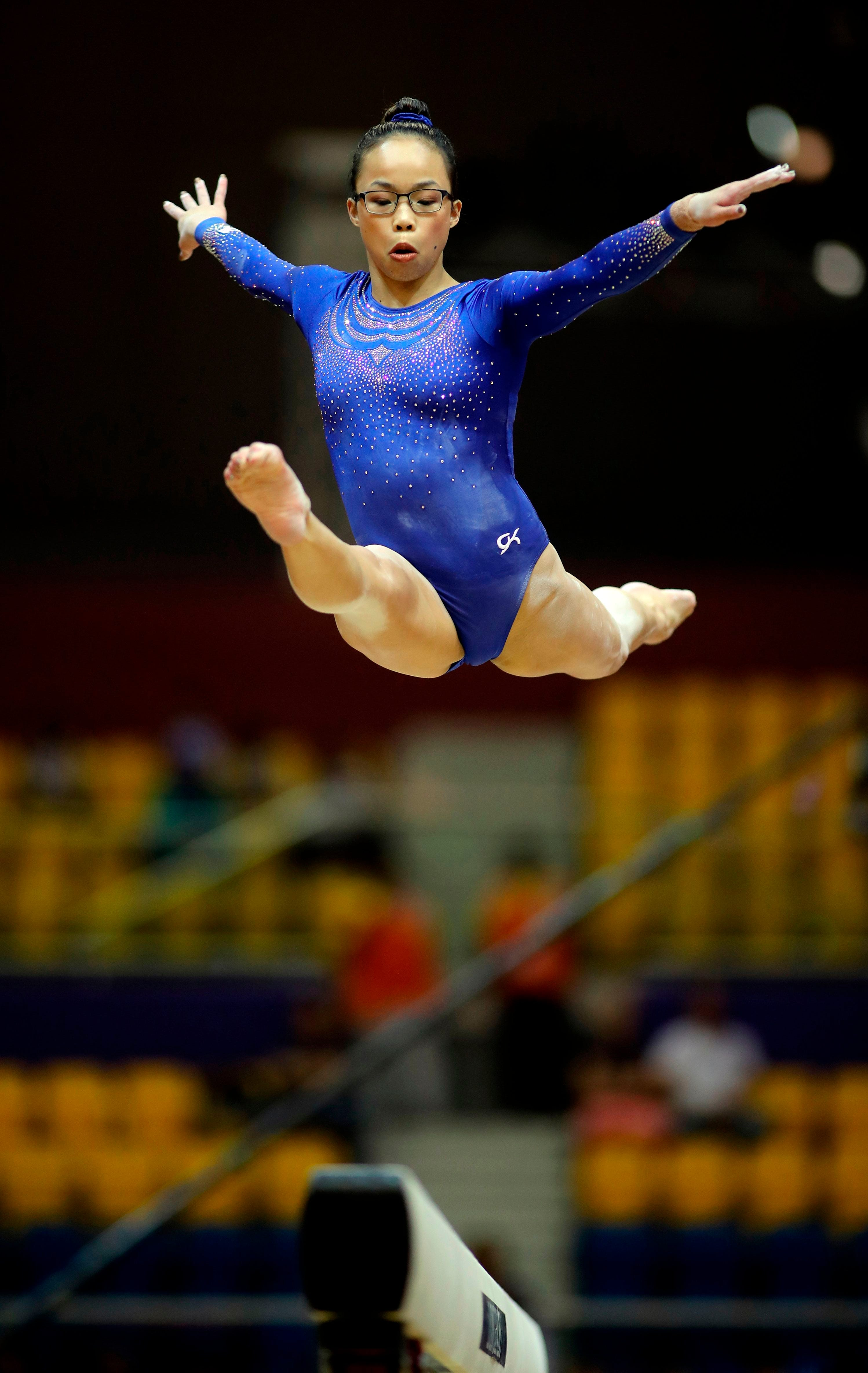 Delaware's Morgan Hurd competes in the women's balance beam qualification during day three of the 2018 FIG Artistic Gymnastics Championships at Aspire Dome on Oct. 27, 2018, in Doha.