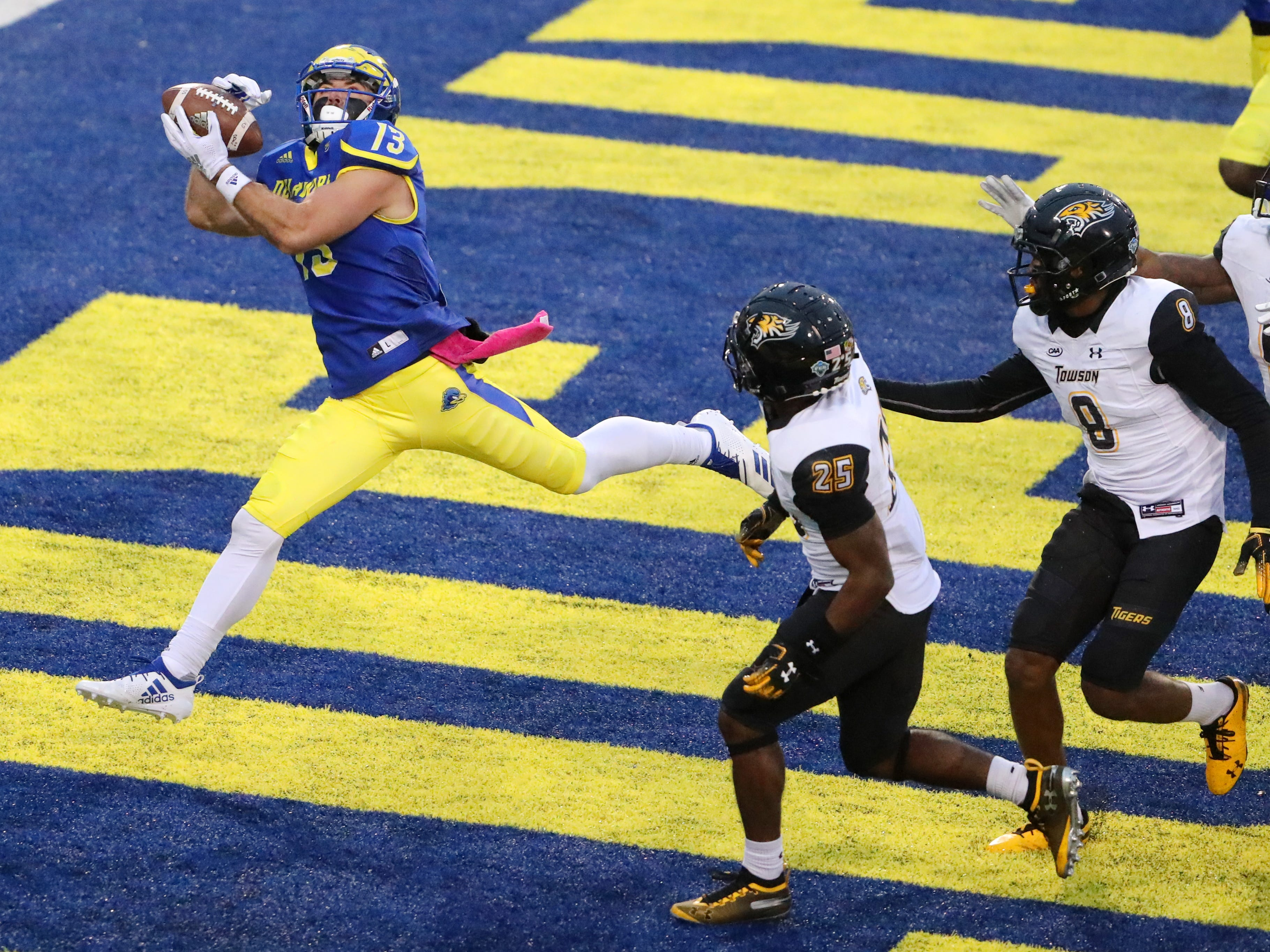 Delaware pulls off upset win against No. 10 Towson, earns share of CAA lead