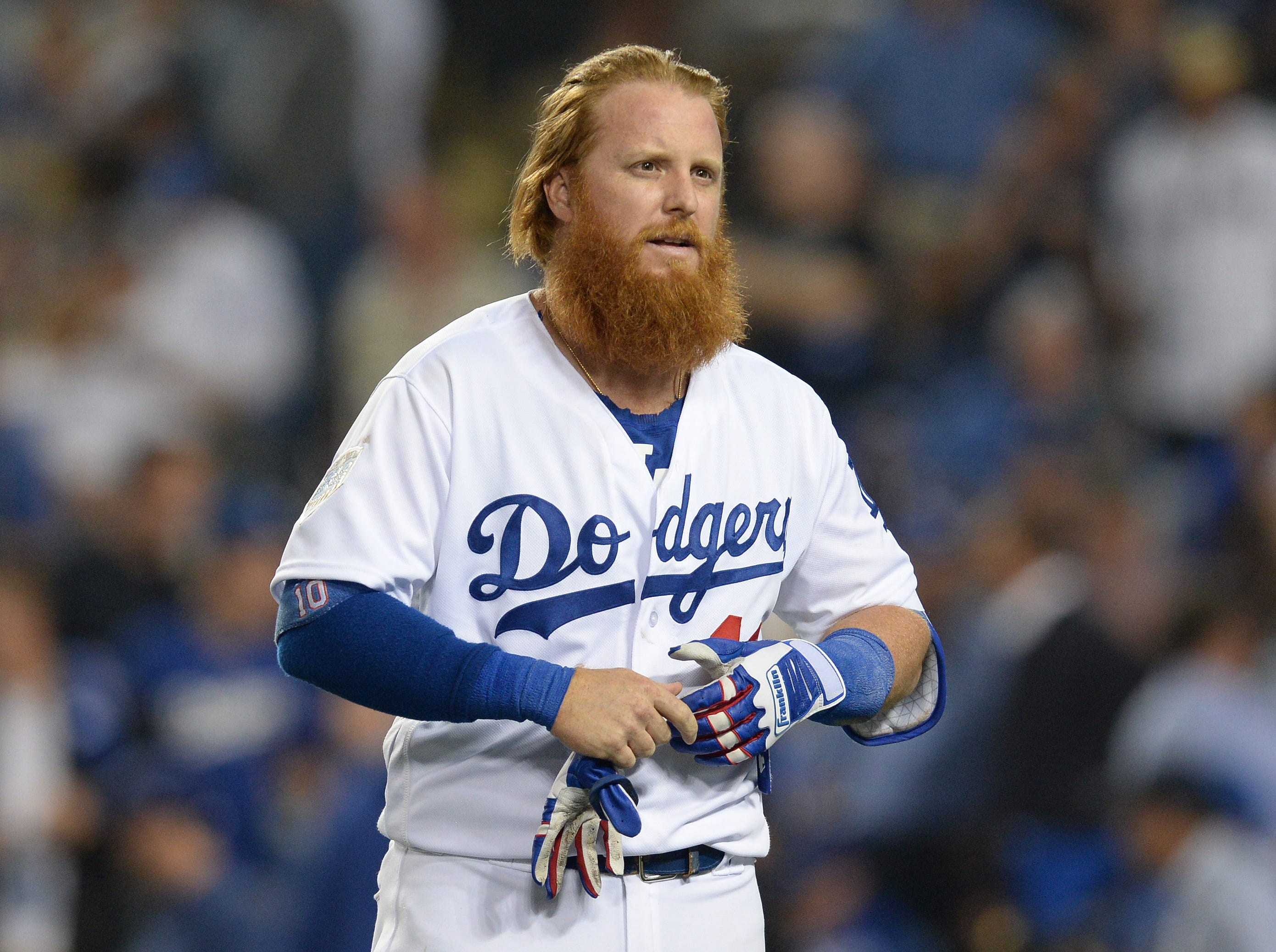 Game 3 at Dodger Stadium: Justin Turner reacts after striking out in the 12th.