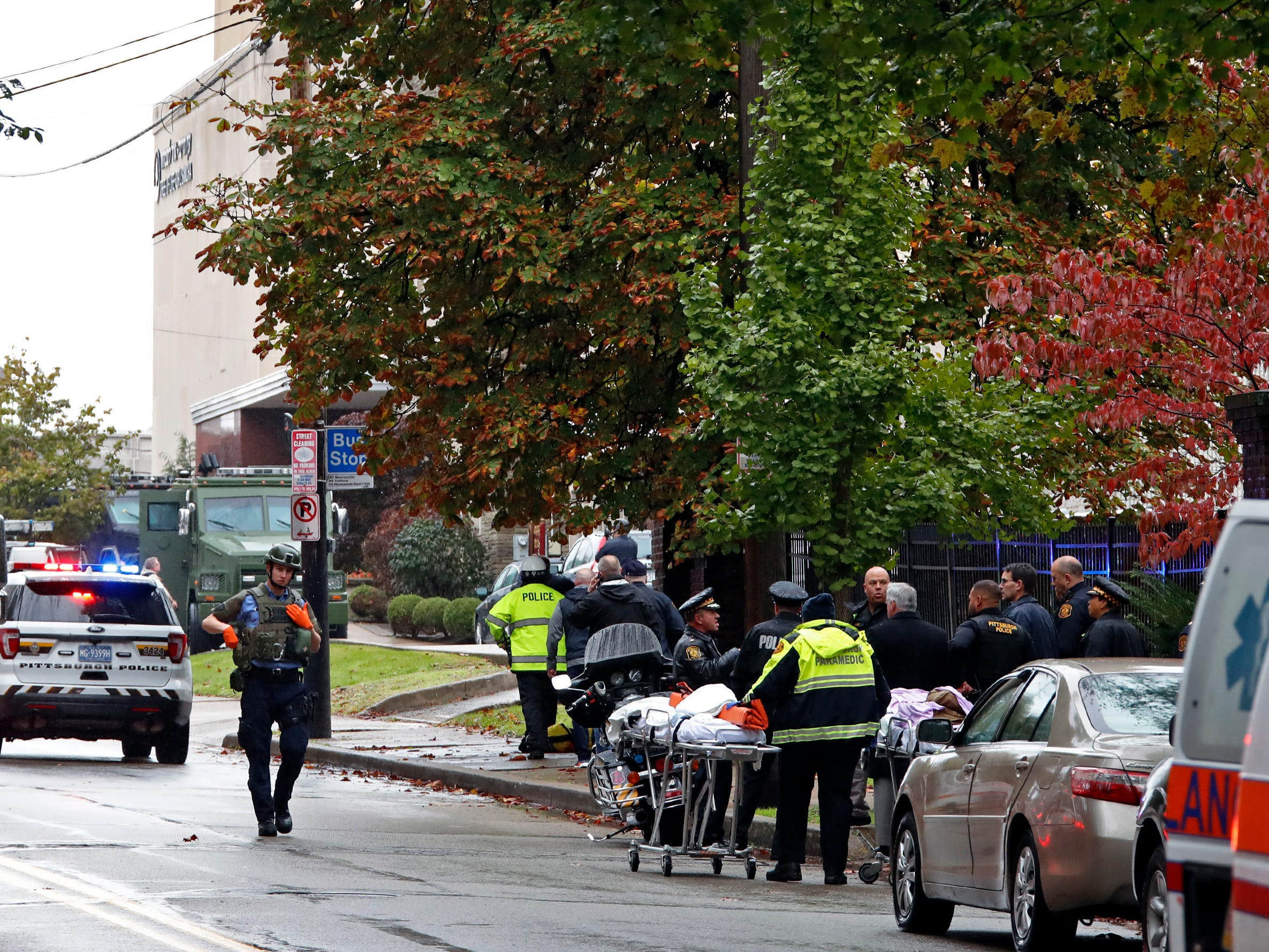 First responders surround the Tree of Life Synagogue in Pittsburgh, Pa. on Oct. 27, 2018.