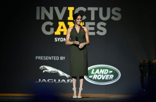 Meghan, the British Duchess of Sussex, smiles during her speech at the closing ceremony of the Invictus Games in Sydney on October 27, 2018.