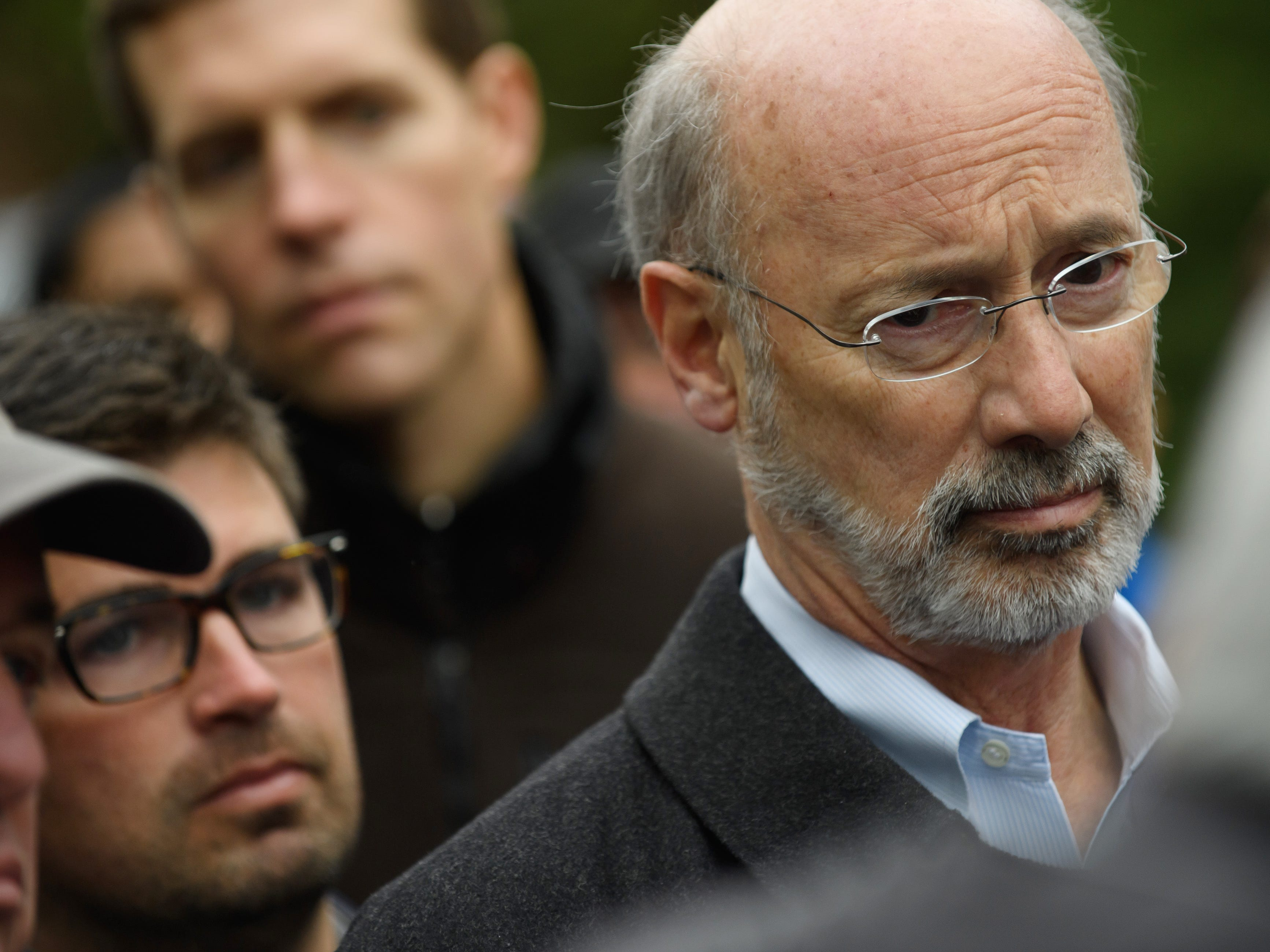Pennsylvania Governor Tom Wolf at the site of a mass shooting at the Tree of Life Synagogue.