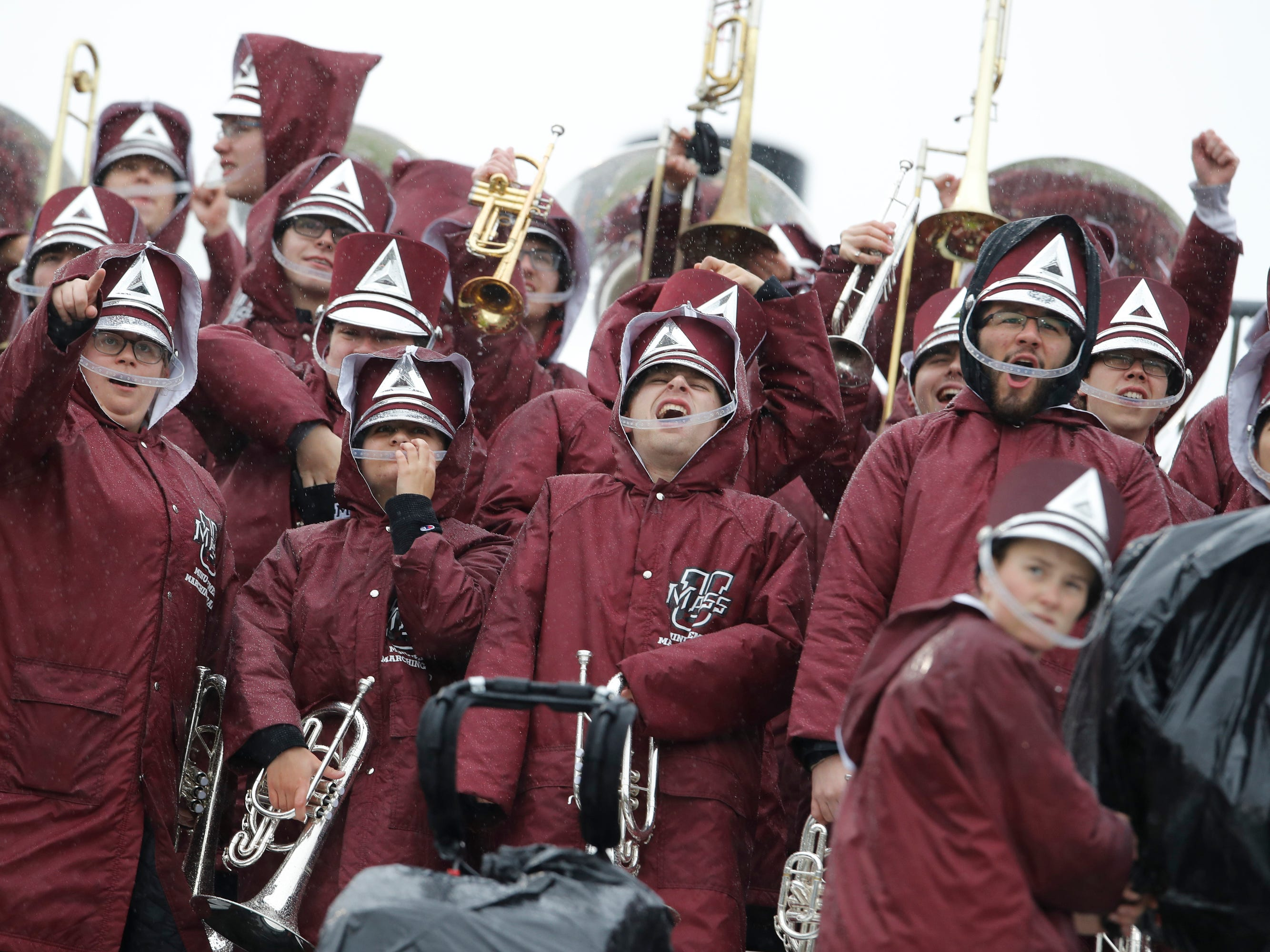 Week 9: The Massachusetts Minutemen band warms up before the start of the game against the Connecticut Huskies at Pratt & Whitney Stadium at Rentschler Field.
