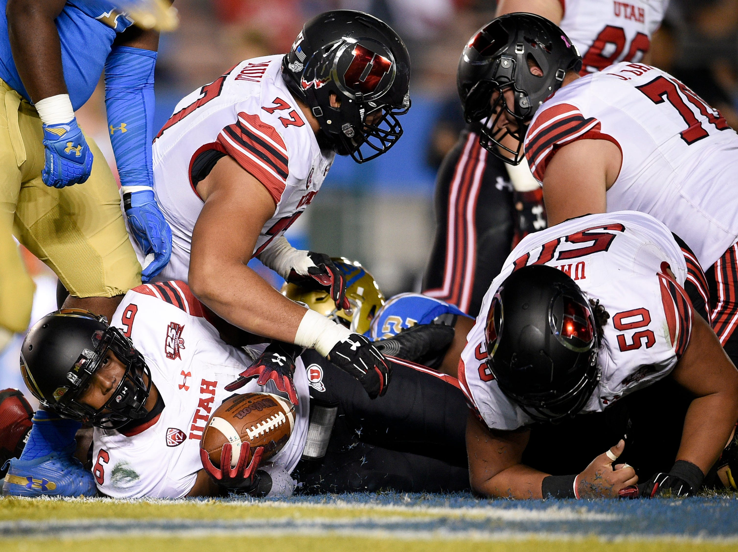 Utah Utes running back Armand Shyne (6) looks to the sideline after scoring a touchdown during the second half against the UCLA Bruins at the Rose Bowl.