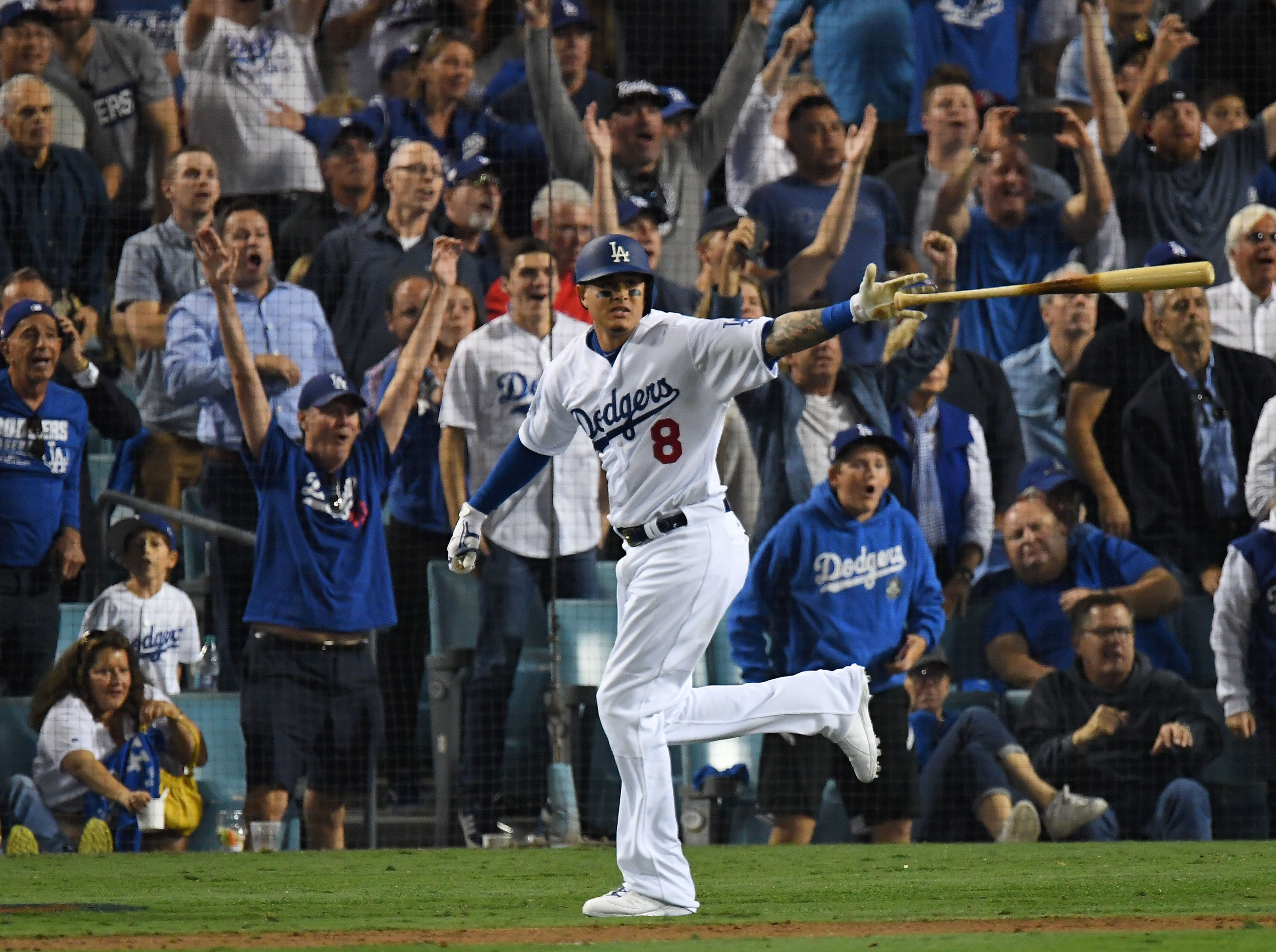 Game 3 at Dodger Stadium: Manny Machado singles in the sixth inning.