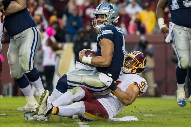 Dallas Cowboys quarterback Dak Prescott (4) says he likes a hit of smelling salts during games.