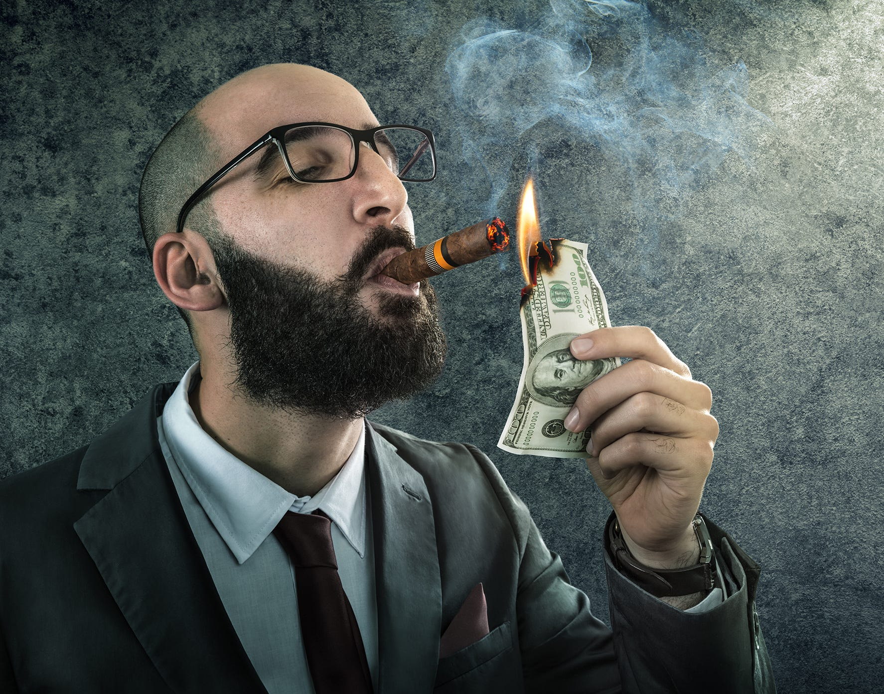 Money Burning Businessman Arrogant